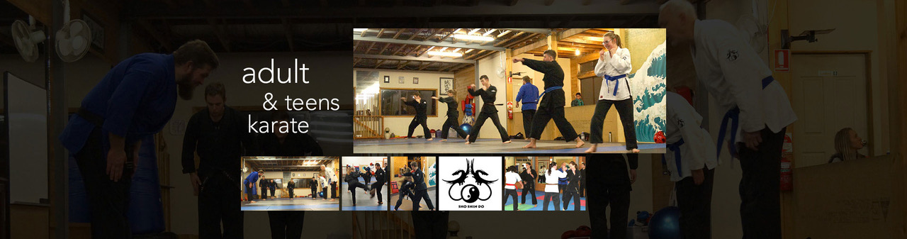 Collage of students training in martial techniques