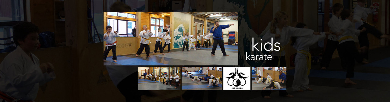 Collage of children training in martial arts techniques and school logos