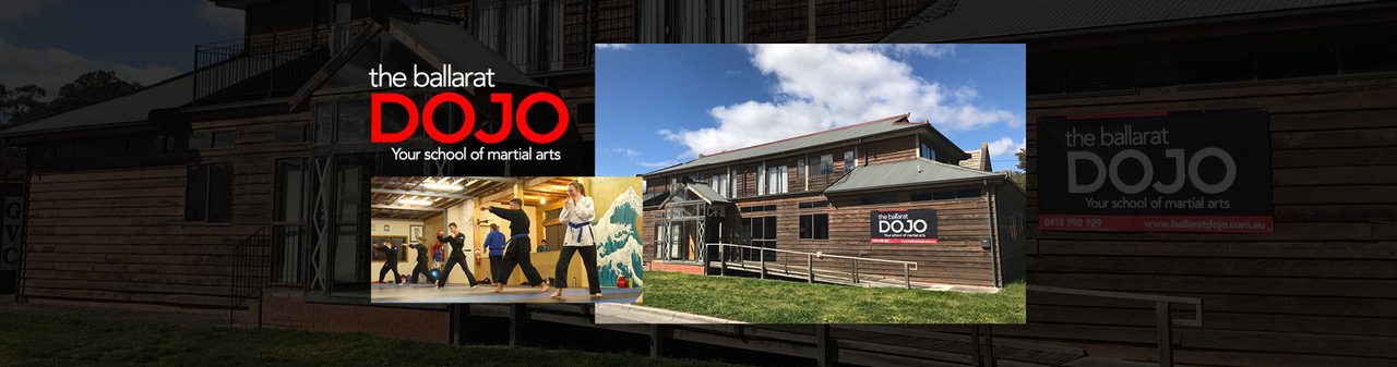 Collage of logo, students training and the dojo building.